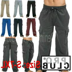 Pro Club Men's Heavyweight Track Fleece Cargo Pants Sweatpan