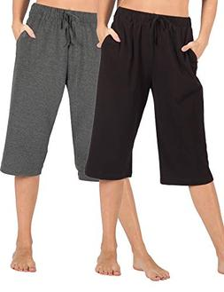 WEWINK CUKOO 100% Cotton Women Pajama Capri Pants Lounge Pan