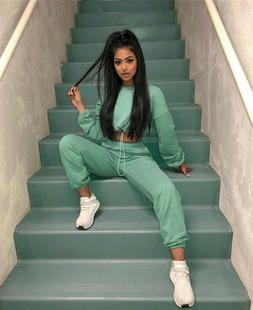 2 Piece Set Women Tracksuit Sweatshirt Sweatpants Harem Pant