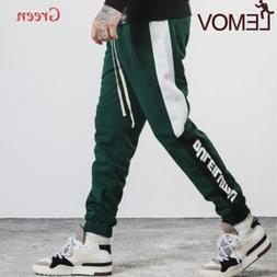 2018 Men Pants Full Length Side Stripe Printed Trousers Mens