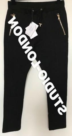black slim fit sweatpants gold zip size
