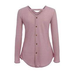 HTDBKDBK Blouse Women Fashion Sexy Long Sleeved V-Neck Butto