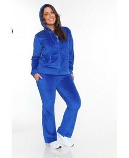 BLUE Plus Size New Women Velour Hoodie Track Suit Sweat Pant