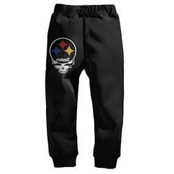 Boys Girls Steelers Skull Closed-Bottom Sweatpants 2 Toddler