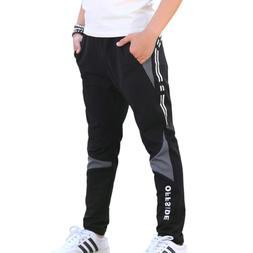CNMUDONSI Boys Sweatpants Elastic Slim Fit Track Pants Size