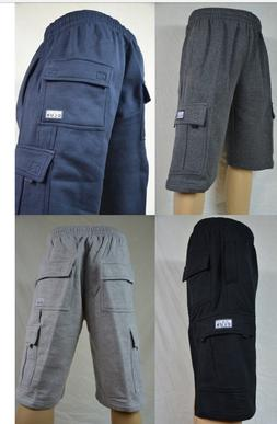 PRO CLUB Cargo Fleece Shorts Men's Heavyweight Joggers Sweat