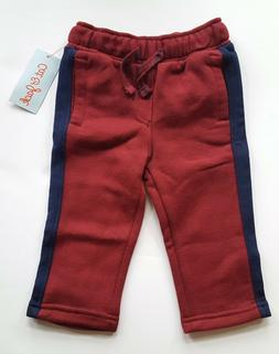 Cat & Jack Boys Maroon Red Sweatpants with Navy Stripe, Size