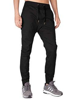 ITALY MORN Men's Chino Jogger Sweatpants Casual Pants S Blac
