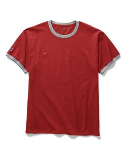 Champion Men's Classic Jersey Ringer Tee Scarlet/Oxford Grey