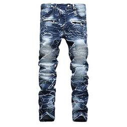 Clearence Men's Pants KpopBaby Slim Jeans Denim Folds Wash W
