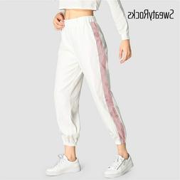 SweatyRocks Contrast Tape Side Pants Active Wear Casual Wome