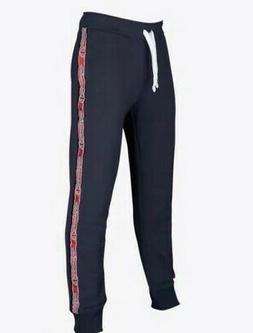 Champion Cuffed Fleace Sweatpants Red Stripe Logo Navy Taped