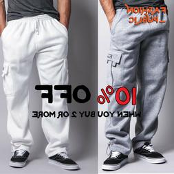 DR CASUAL MEN'S CARGO SWEATPANTS 5 POCKETS CARGO FLEECE PANT
