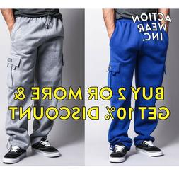 DR MEN'S CASUAL CARGO SWEATPANTS 5 CARGO POCKETS HEAVY JOGGE