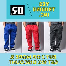 DR MEN'S CASUAL CARGO SWEATPANTS HEAVYWEIGHT 5 POCKET JOGGER