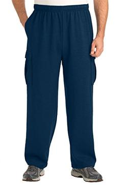 Kingsize Men's Big & Tall Easy-Care Fleece Cargo Pants, Navy