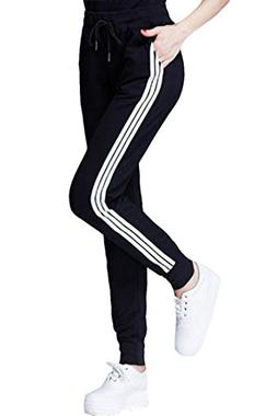 COCOLEGGINGS Womens Elastic Waist Cuffed Jogger Sweatpants R