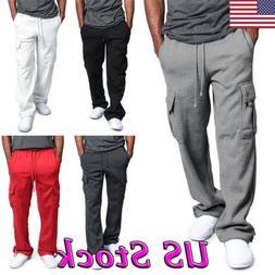 Fashion Men's Jogger Heavy Weight Fleece Cargo Pocket Sweat