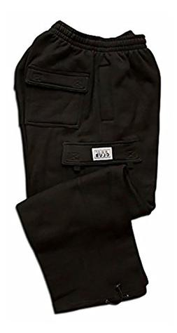 Pro Club Men's Heavyweight Fleece Cargo Pants, 2X-Large, Bla