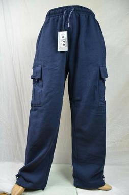 Pro Club Fleece Cargo Sweatpants Navy Blue Heavy Weight Jogg
