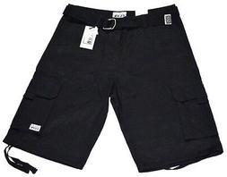 Pro Club Fleece Cargo Sweatpants-Short Black-36