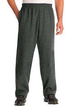 Kingsize Men's Big & Tall Fleece Open-Bottom Pants, Black Ta