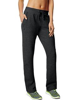 Champion Women's Fleece Open Bottom Pant, Black, 2X Large