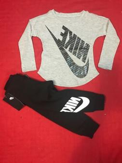 Nike Futura Toddler Girl 2 Pc Set LS Athletic Cut Tee & Jogg