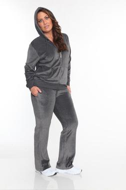 GRAY PLUS SIZE Women Velour Hoodie TRACK SUIT JASKET SWEAT P