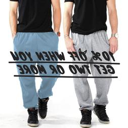 hi mens womens casual sweatpants plain fleece