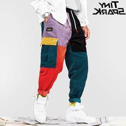 Hip Hip Pants Vintage Color Block Patchwork Corduroy Cargo H
