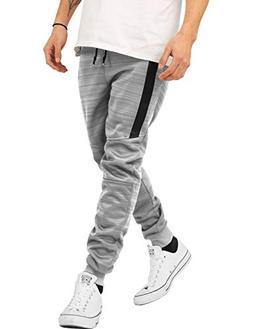 Hat and Beyond Mens Joggers with Zipper Pockets Solid Slim F