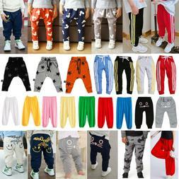 Kids Boys Girls Sweatpants Trousers Loose Fit Casual Elastic