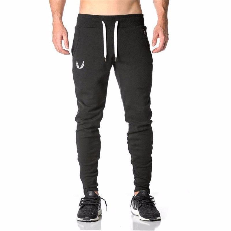 2019 Gyms Joggers Pants Elastic Cotton <font><b>Mens</b></font> Fitness Skinny Jogger Pants