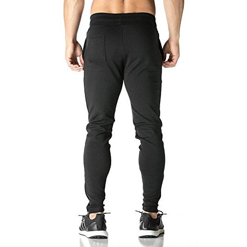 BROKIG Mens Zip Pants Gym Fitness Tracksuit Slim
