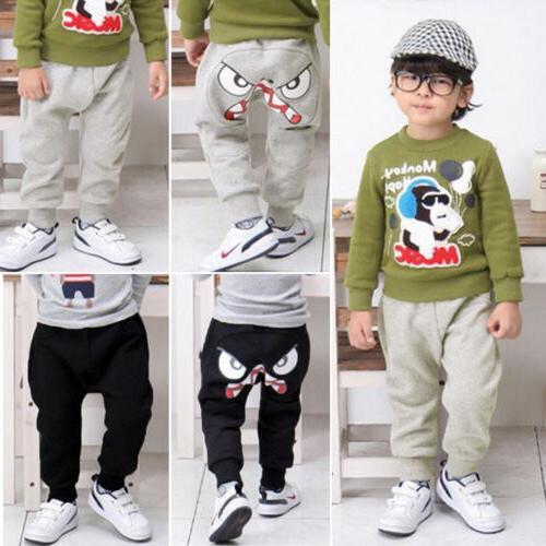 Toddler Kids Emoji Sweatpants Harem Pant Boys Girls Loose Tr