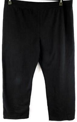 Hanes black plus size elastic waist wide leg sweat pants XXL