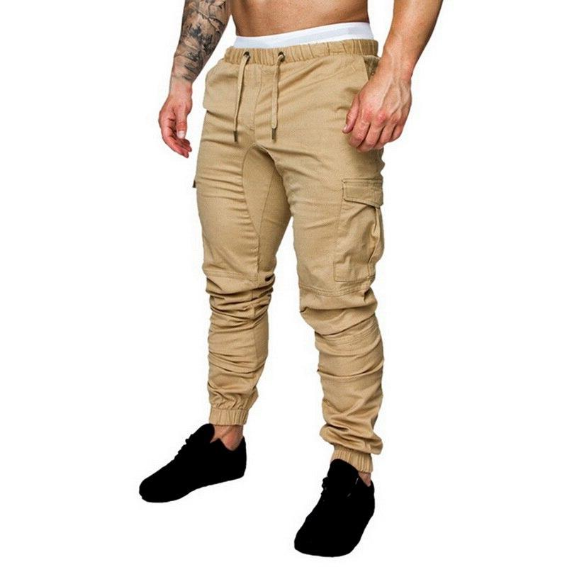 MJARTORIA Hip Joggers 2019 Solid Multi-pocket Pants Homme <font><b>Sweatpants</b></font>