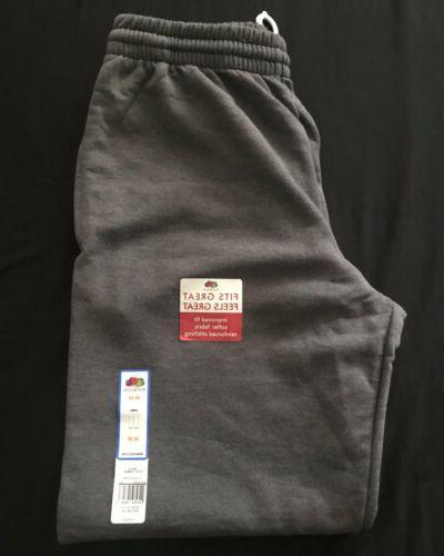 charcoal gray elastic bottom sweatpants mens size