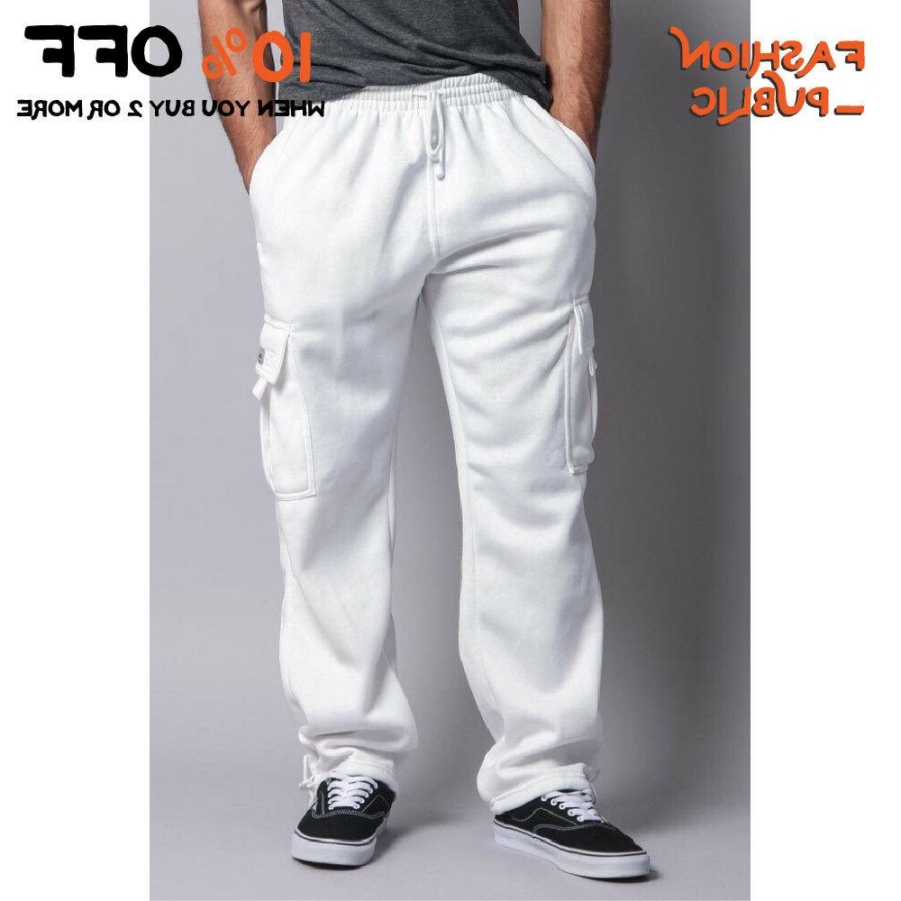 DR MEN'S CARGO SWEATPANTS ACTIVE CARGO FLEECE PANTS HAREM JOGGERS