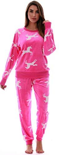 #followme Printed Velour Pajama Top with Jogger Pant 6757-10