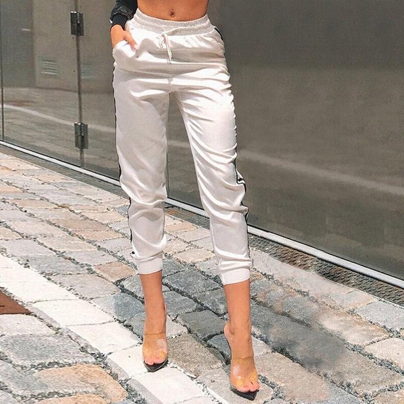 <font><b>Women</b></font> Stripe Sexy Pants 2019 Loose Elastic High Waist Pencil Trousers