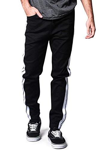 Victorious Track Style Thick Side Stripe Joggers JG3008 Black Small -