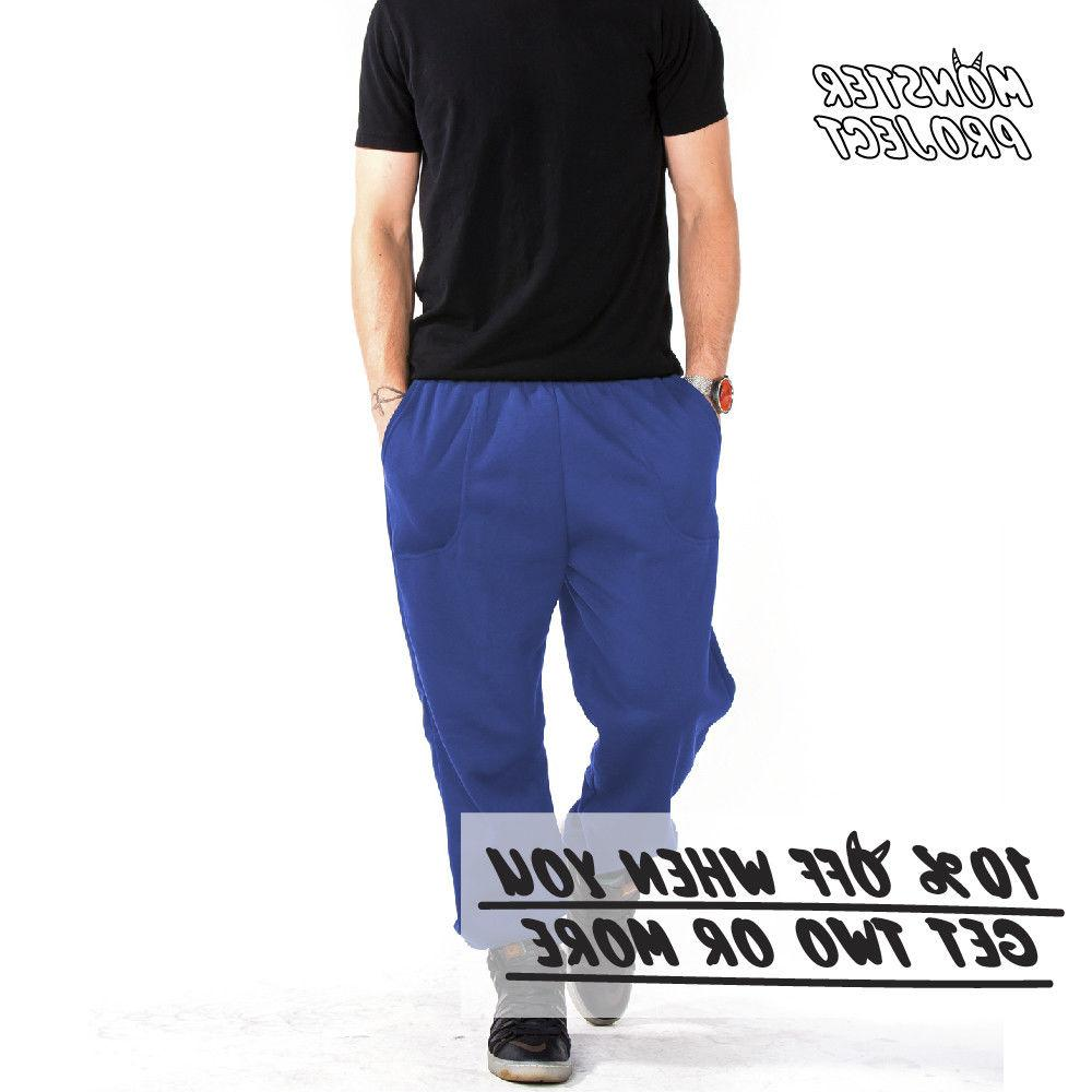 HI MEN CASUAL SWEATPANTS POCKETS FLEECE ELASTIC JOGGER WARM