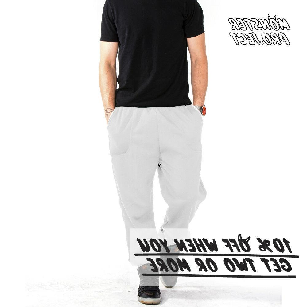 HI MEN CASUAL SWEATPANTS 3 FLEECE PANTS ELASTIC JOGGER WARM