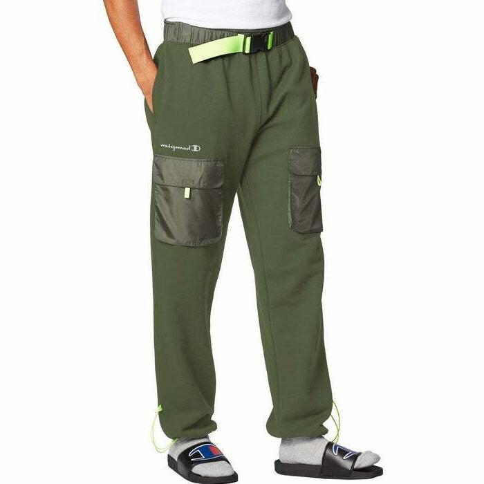 life men jogger with woven piecing cargo