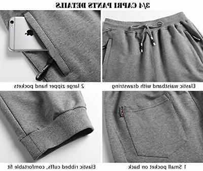MANSDOUR Pants 3/4 Workout Sweatpants Running