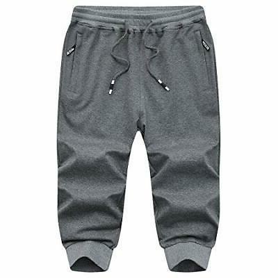 MANSDOUR Jogger Pants 3/4 Sweatpants Running Belo