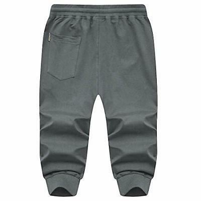 MANSDOUR Men's Jogger Pants 3/4 Sweatpants Belo