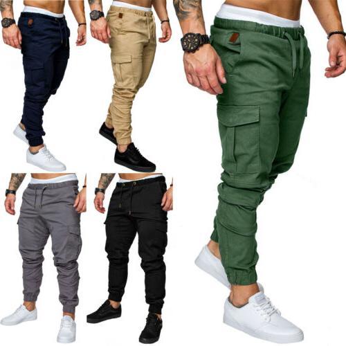 Mens Casual Combat Cargo Trousers Joggers Sports Jogging Har